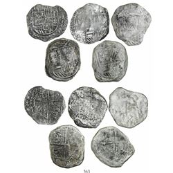 Lot of 5 cob 8 reales (four Potosi and one Mexico), Philip III, one with assayer Q but the others no