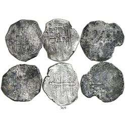 Lot of 3 Mexico City, Mexico, cob 8 reales, Philip IV, assayer D (where visible).