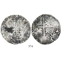 Potosi, Bolivia, cob 8 reales, Philip IV, assayer not visible (1640s).