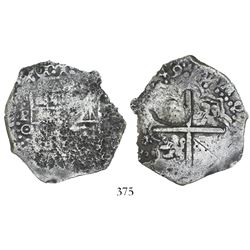 Potosi, Bolivia, cob 8 reales, (16)49O, with unidentified countermark on cross.