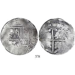 Potosi, Bolivia, cob 8 reales, 1650O, with crowned-dot-F-dot countermark on shield, encapsulated ICG