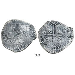 Potosi, Bolivia, cob 8 reales, (1650-1)O, with crowned-(?) countermark on shield.