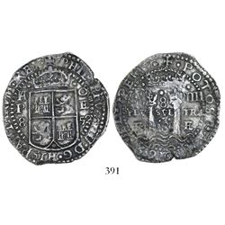 Potosi, Bolivia, cob 8 reales, 1652E Transitional Type IV/A, subtype with A/F to left of shield.