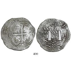 Potosi, Bolivia, cob 8 reales, 1652E, 1-PH-6 at top, post-transitional (Transitional Type VIII/B).