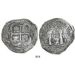 Potosi, Bolivia, cob 8 reales, 1652E, 1-PH-6 at top, post-transitional (Transitional Type VIII/B).