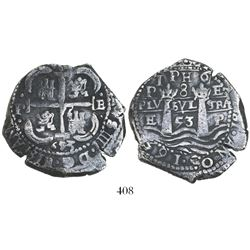 Potosi, Bolivia, cob 8 reales, 1653E, 1-PH-6 at top (rare).