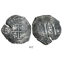 Potosi, Bolivia, cob 8 reales, 1653E (probably dot-PH-dot at top but not visible).