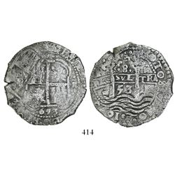 Potosi, Bolivia, cob 8 reales, 1653E, dot-PH-dot at top.