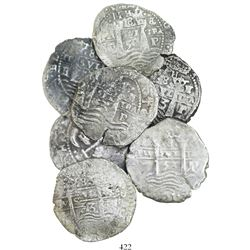 Lot of 7 Potosi, Bolivia, cob 8 reales, dated 1652 and 1653, assayer E.