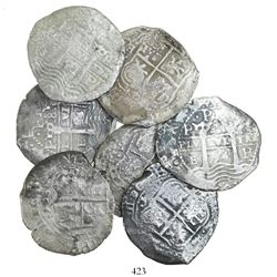 Lot of 7 Potosi, Bolivia, cob 8 reales, all dated 1654, assayer E.