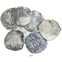 Lot of 7 Potosi, Bolivia, cob 8 reales, all dated 1654, assayer E.