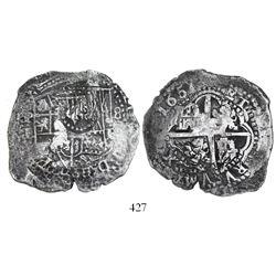 Potosi, Bolivia, cob 8 reales, 1651E, modern 5 (rare), with crown-alone (common) countermark on shie