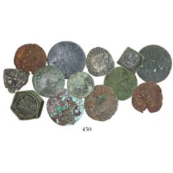 Lot of 13 miscellaneous coins and coin weights, including one Potosi cob 1R 1661E, ten French copper