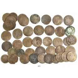 Large lot of 44 miscellaneous European billon and copper coins (mostly French liards) of the mid-160