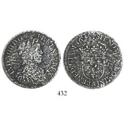 France (Paris mint), 1/2 ecu, Louis XIV, 1649-A.