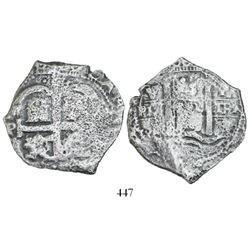 Potosi, Bolivia, cob 8 reales, 1679V, assayer at upper left (rare).