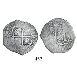 Potosi, Bolivia, cob 2 reales, 1668E.