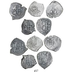 Lot of 5 Potosi, Bolivia, cob 1R, all with significant over-punchings (all rare), as follows: 1659E