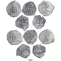 Lot of 5 Potosi, Bolivia, cob 1R, various dates, as follows: 1654E, 1661E, 1667E, 1673E and 1679C.