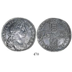 London, England, half crown, William III, 1696, first bust, large shields, early harp.