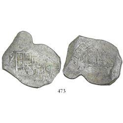 Mexico City, Mexico, cob 8 reales, 1704(L), very rare.