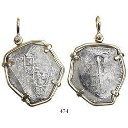 Mexico City, Mexico, cob 8 reales, (17)08(J), very rare, in 14K gold pendant-bezel.