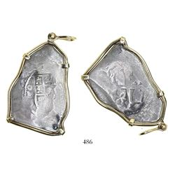Mexico City, Mexico, cob 8 reales, 1714J, in 14K gold pendant-bezel.