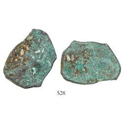 "Mexico City, Mexico, cob 8 reales ""greenie"" (encrusted, as found), probably Philip V, assayer not vi"