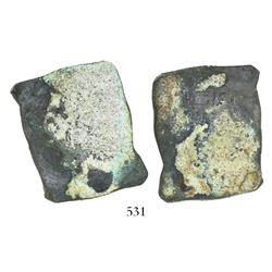 "Mexico City, Mexico, cob 8 reales, ""greenie"" (encrusted, as found), probably Philip V, assayer not v"