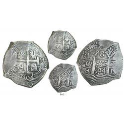 Lima, Peru, cob 8 reales, 1704H, three full dates (rare thus), ex-Bob Johnson (Real Eight).