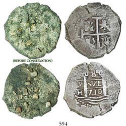 Lima, Peru, cob 8 reales, 1710H.