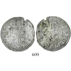 "Seville, Spain, milled 2 reales ""pistareen,"" Philip V, 1722J, rare provenance."