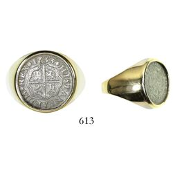 "Seville, Spain, milled 1 real ""half pistareen,"" Philip V, 1733PA, mounted in 14K gold men's ring"