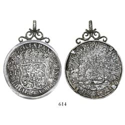 Mexico City, Mexico, pillar 8 reales, Philip V, 1738MF, mounted in sterling silver bezel (supposedly