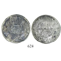 "Segovia, Spain, milled 2 reales ""pistareen,"" Philip V, 1721F, rare type from this wreck."