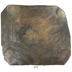 "Sweden, copper 4 daler ""plate money,"" Fredrik I, 1744."