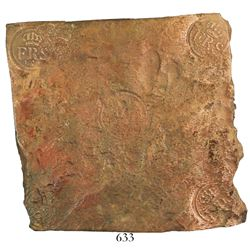 "Sweden, copper 2 daler ""plate money,"" Fredrik I, 1749."