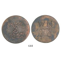 "Great Britain, copper ""cartwheel"" penny, George III, (1797), worn smooth and turned into a hanging t"
