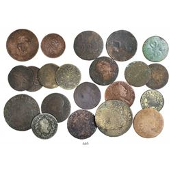Lot of 21 various European copper coins of the 1700s.
