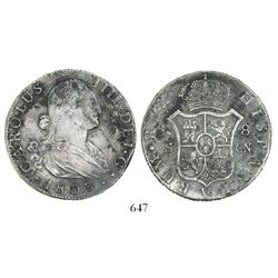 Seville, Spain, bust 8 reales, Charles IV, 1803CN.