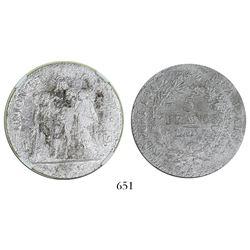 France (Paris mint), 5 francs, l'an 7 (1798-9), mintmark A, encapsulated NGC shipwreck effect.