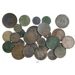 Large lot of 27 mostly French and British copper coins, various kings and dates (where visible) in t