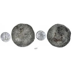 Lot of 2 Dutch silver coins from shipwrecks: DeLiefde (1711) and Slot ter Hooge (1724).