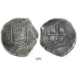 Mexico City, Mexico, cob 8 reales, (16)62P, rare.