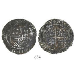 Mexico City, Mexico, cob 4 reales, Philip II, assayer O below denomination IIII to right, mintmark o