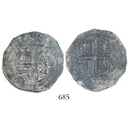 Mexico City, Mexico, cob 4 reales, Philip II, assayer O below denomination IIII to right, mintmark o