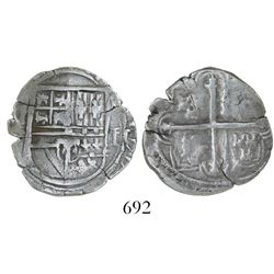 Mexico City, Mexico, cob 2 reales, Philip II, assayer F, rare variety with 3 castles in each quadran