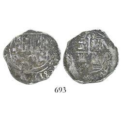 Mexico City, Mexico, cob 2 reales, Philip III, assayers F and oD, very rare.
