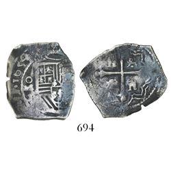 Mexico City, Mexico, cob 2 reales, 1654P, full date (rare).