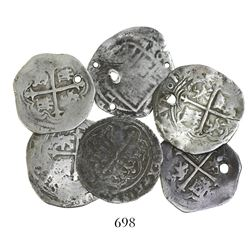 Lot of 6 Mexico City, Mexico, cob 1R, Philip II and III, assayers O and F (where visible).